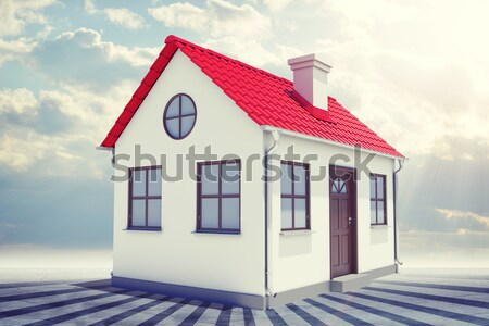 White house with red roof and sidewalk sign. Background sun shines brightly, flying hot air balloon Stock photo © cherezoff