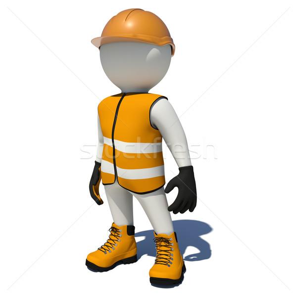 Worker in orange overalls. Isolated Stock photo © cherezoff