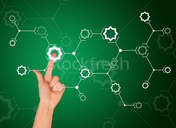 Işaret parmağı beyaz star bağlantı yeşil imzalamak Stok fotoğraf © cherezoff