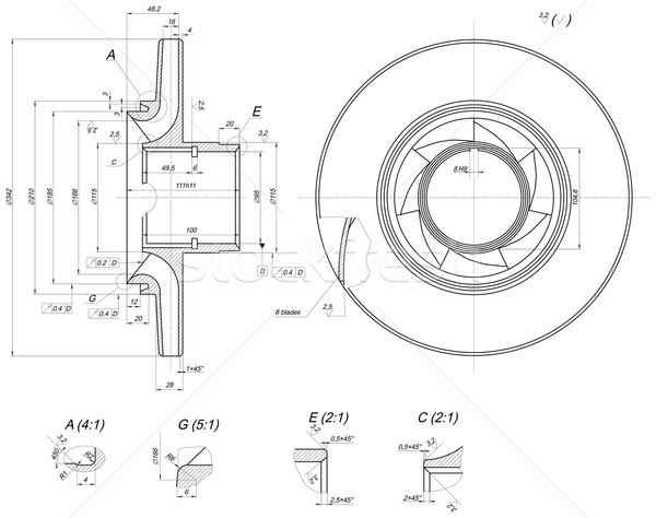 Sketch of wheel with lines and blades Stock photo © cherezoff