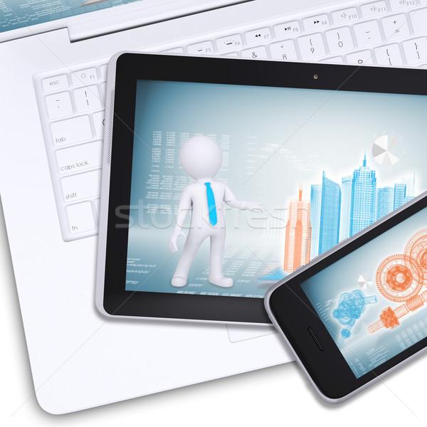 タブレット 携帯 ノートパソコン エンジニアリング 図面 孤立した ストックフォト © cherezoff