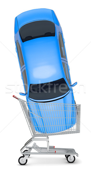 Blue car in shopping cart Stock photo © cherezoff