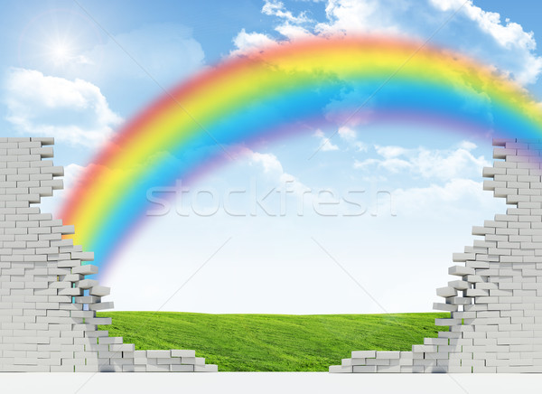 Landscape and rainbow in broken wall Stock photo © cherezoff