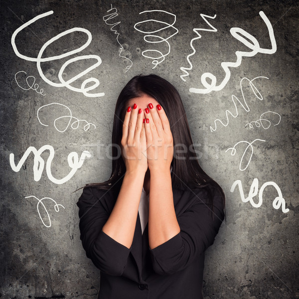 Woman close face within hands Stock photo © cherezoff