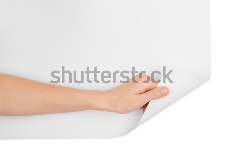 Womans hand with vertical blank card Stock photo © cherezoff