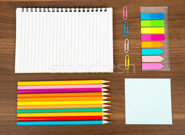 Open notebook with stationary  Stock photo © cherezoff