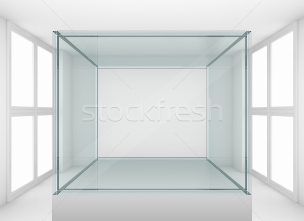 Glass showcase on podium in gallery or room Stock photo © cherezoff