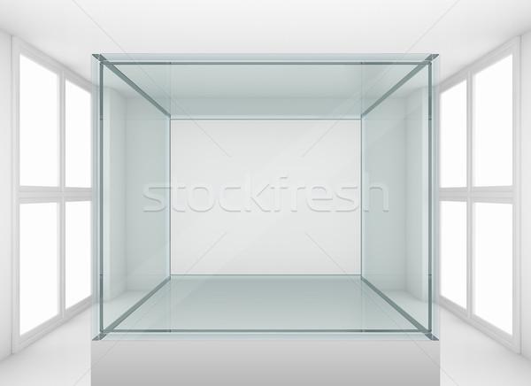 стекла подиум галерея комнату 3d иллюстрации Сток-фото © cherezoff