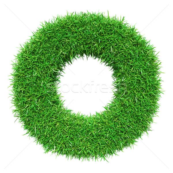 Zöld fű o betű izolált fehér betűtípus terv Stock fotó © cherezoff