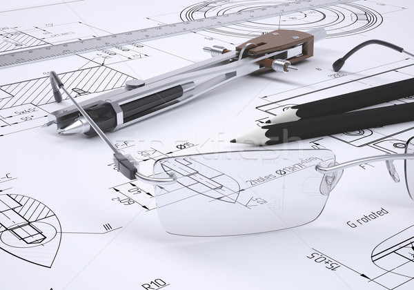 Glasses, ruler, compass and pencils Stock photo © cherezoff