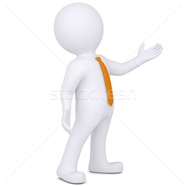 3d white man points hand Stock photo © cherezoff