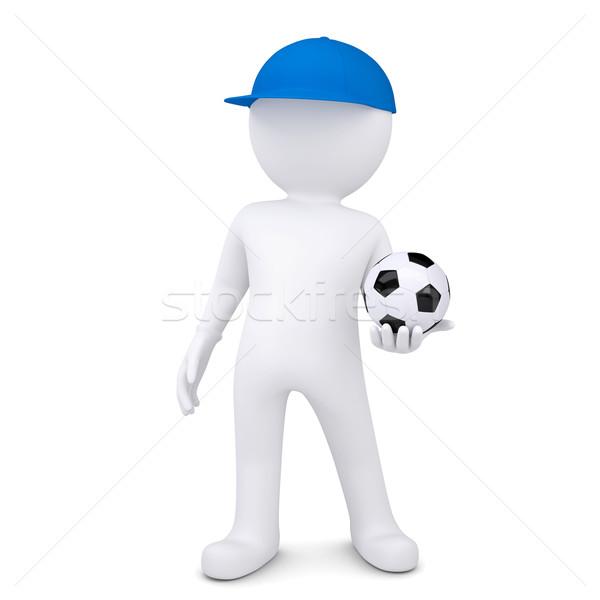 3d white man with soccer ball Stock photo © cherezoff