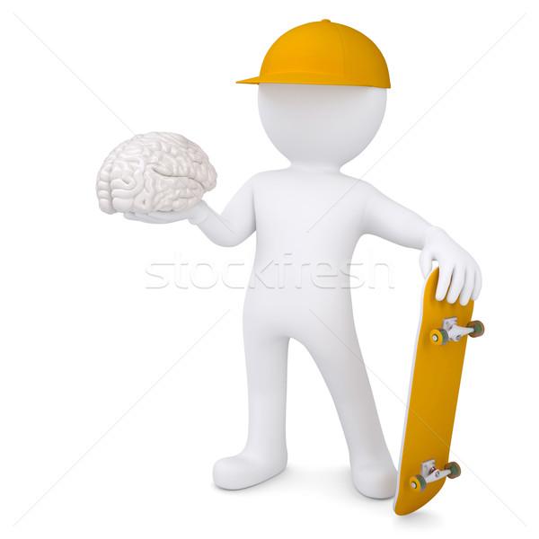 3D biały człowiek deskorolka mózgu odizolowany Zdjęcia stock © cherezoff