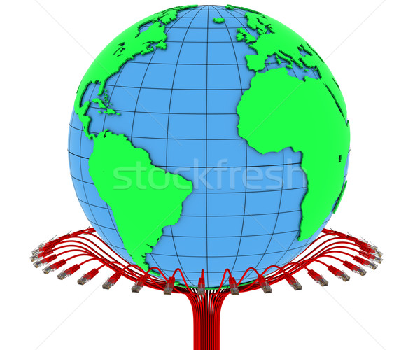 Internet kabel aarde computer wereldbol kaart Stockfoto © cherezoff