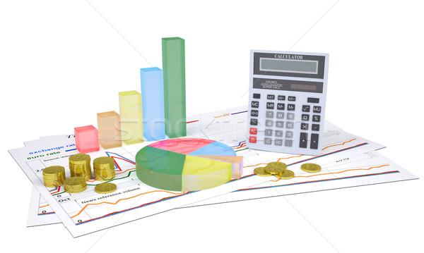Gazdasági táblázatok arany érmék számológép izolált render Stock fotó © cherezoff