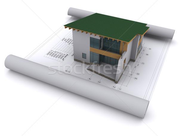 Stockfoto: Huis · groene · dak · bouw · tekeningen · ontwerp