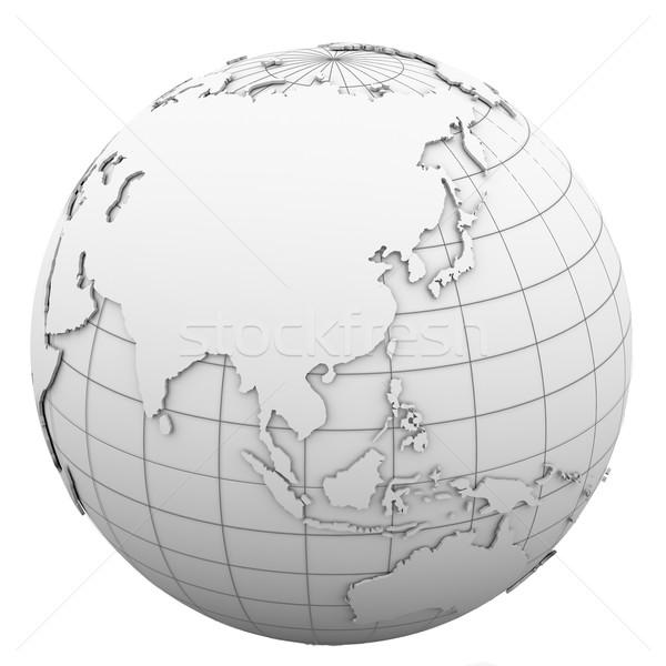 Fehér földgömb izolált render üzlet térkép Stock fotó © cherezoff