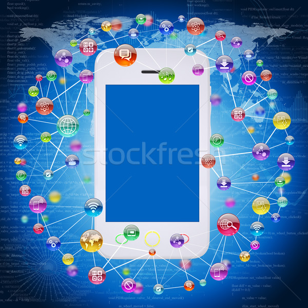 Stockfoto: Smartphone · toepassing · iconen · software · computer · internet