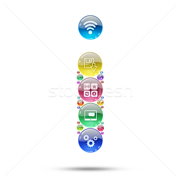 Foto d'archivio: Silhouette · lettera · i · apps · icone · software · internet