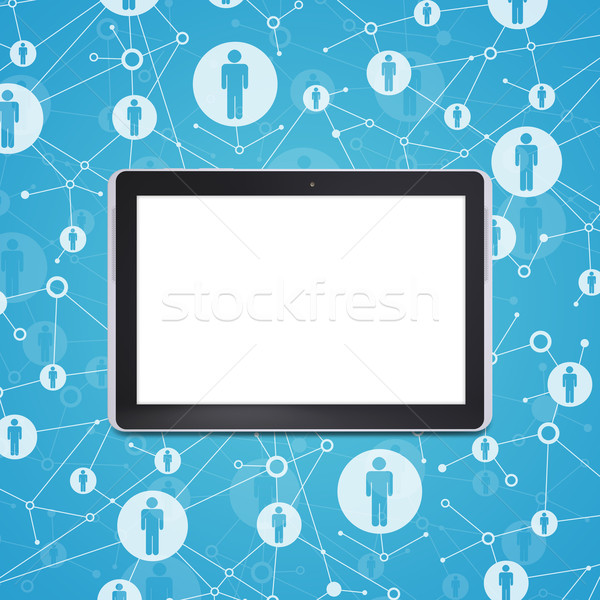 Tablet pc on a background lattice social network Stock photo © cherezoff