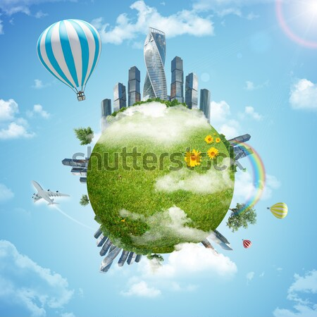 Earth, green grass, buildings and airplane Stock photo © cherezoff