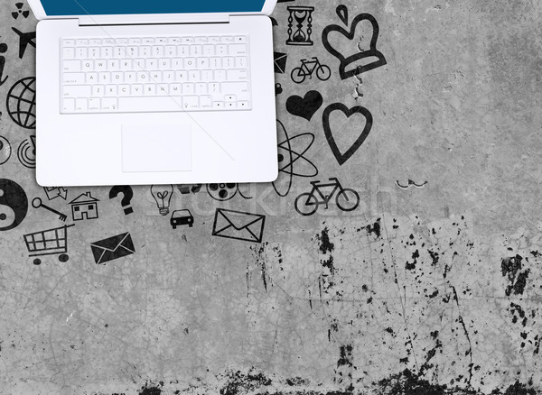 Foto d'archivio: Laptop · concrete · piano · sociale · icone