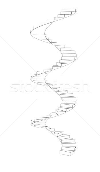 Wire-frame spiral stairs. Three full turns Stock photo © cherezoff