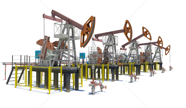 Oil pump-jacks. Isolated Stock photo © cherezoff