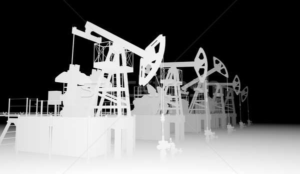Gray silhuettes of oil pump-jacks Stock photo © cherezoff
