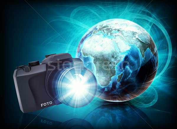 Stock photo: Earth and camera in haze on abstract background