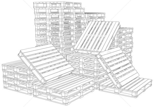 Pile of pallets Stock photo © cherezoff