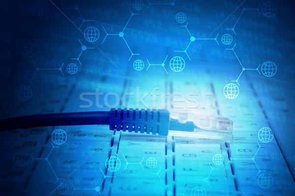 コンピュータケーブル キーボード 抽象的な 青 標識 コンピュータ ストックフォト © cherezoff