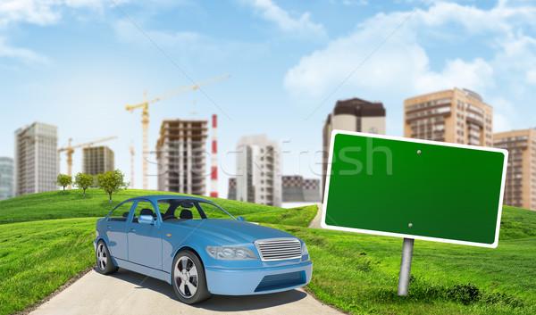 Blue car on urban background Stock photo © cherezoff