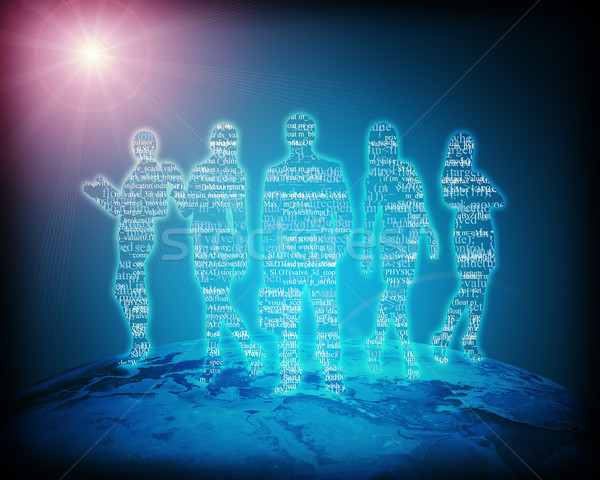 Streszczenie sylwetka stałego ziemi niebieski Zdjęcia stock © cherezoff