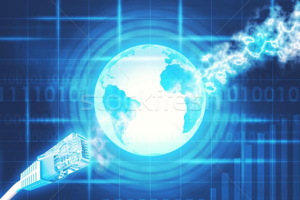 Kabel komputerowy ziemi numery komputera kabli streszczenie Zdjęcia stock © cherezoff