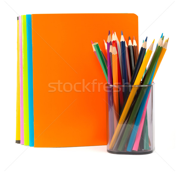Buntstifte Bleistift Tasse isoliert weiß Holz Stock foto © cherezoff