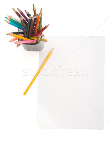 Papel em branco giz de cera isolado branco madeira fundo Foto stock © cherezoff