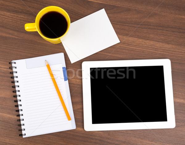 Schönschreibheft Tablet wenig Karte Holztisch Holz Stock foto © cherezoff