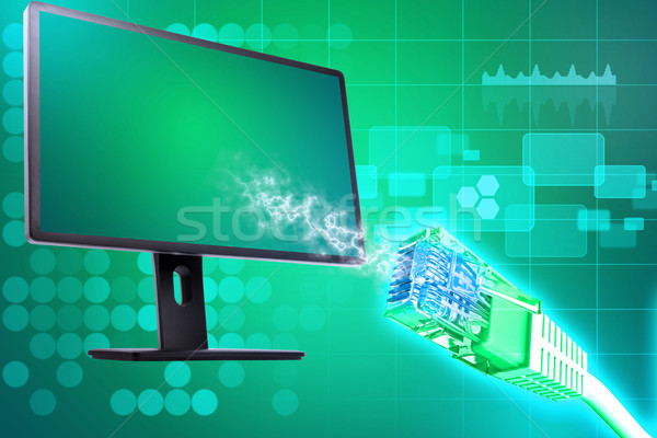 Display with wire and graph Stock photo © cherezoff