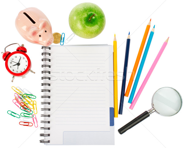Abrir caderno artigos de papelaria lupa isolado branco Foto stock © cherezoff