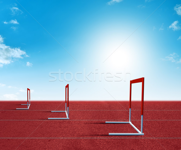 Barriers on treadmill stadium Stock photo © cherezoff
