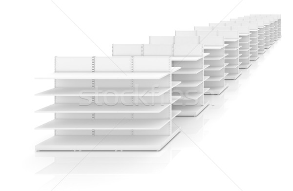 Photo stock: Tablettes · magasin · magasin · isolé · blanche · 3D
