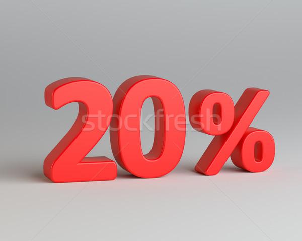 Vermelho vinte por cento assinar cinza negócio Foto stock © cherezoff