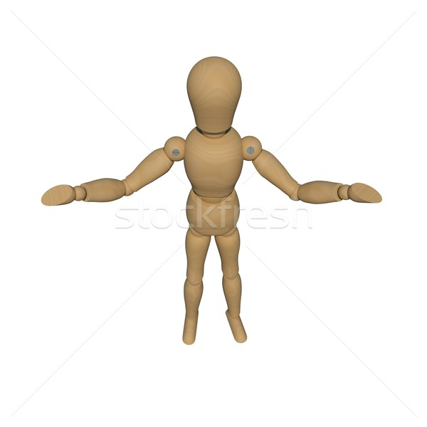The wooden man throws up his hands. 3D rendering Stock photo © cherezoff