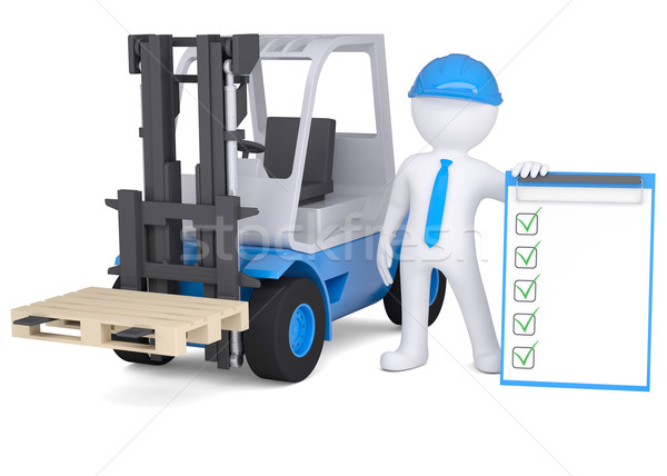 3d man in a hard hat next to the loader Stock photo © cherezoff