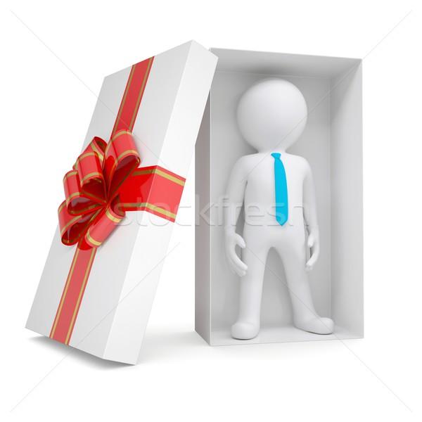 3d white man in gift box Stock photo © cherezoff