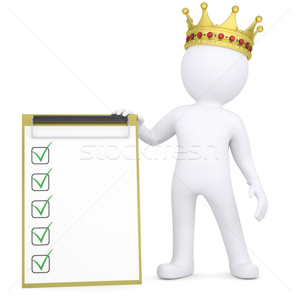 3d white man with a crown holding a checklist Stock photo © cherezoff