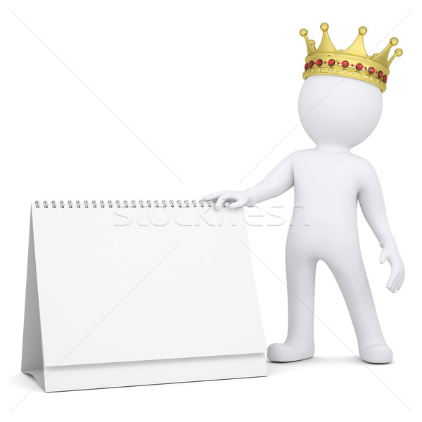 3d white man with a crown holding a desk calendar Stock photo © cherezoff