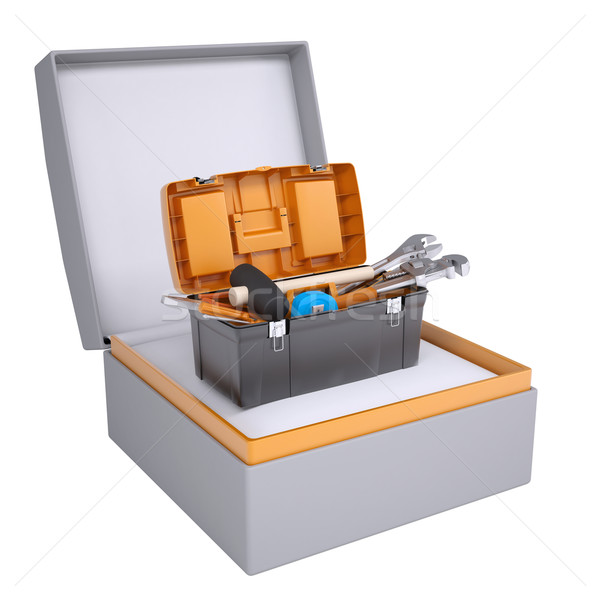 Toolbox in open gift box Stock photo © cherezoff