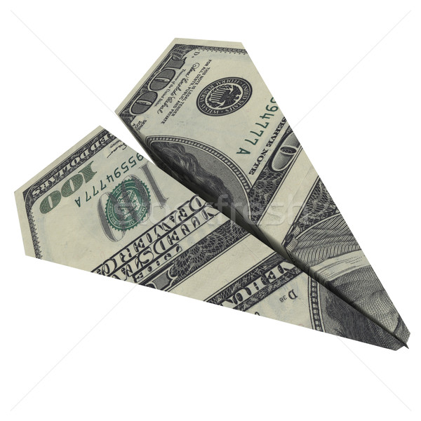Papierflieger Dollar isoliert weiß Papier Stock foto © cherezoff